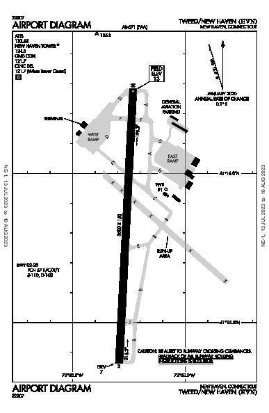 Tweed-New Haven Airport (New Haven, CT): KHVN Airport Diagram