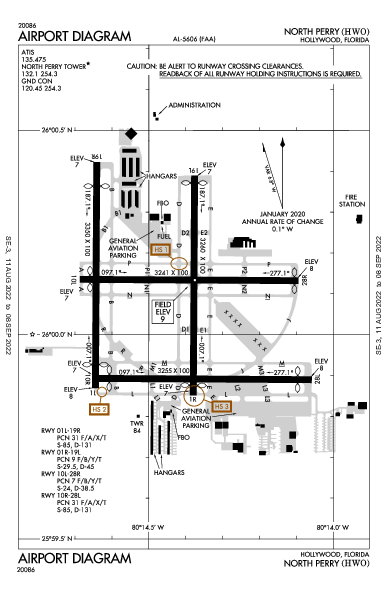 North Perry Airport (Hollywood, FL): KHWO Airport Diagram