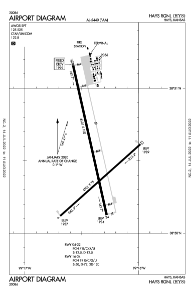 Hays Rgnl Airport (Hays, KS): KHYS Airport Diagram