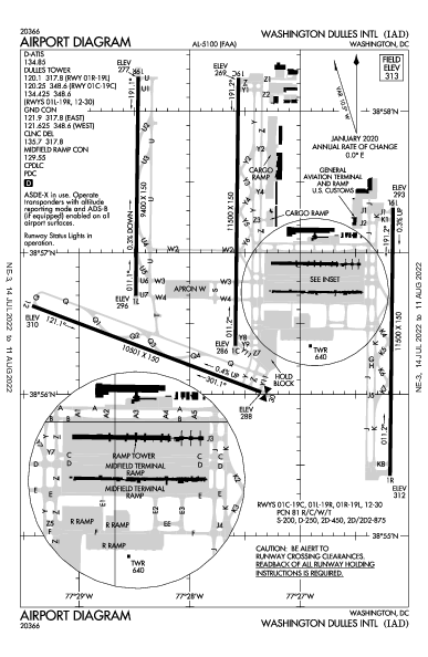 internazionale di Washington-Dulles Airport (Washington, DC): KIAD Airport Diagram