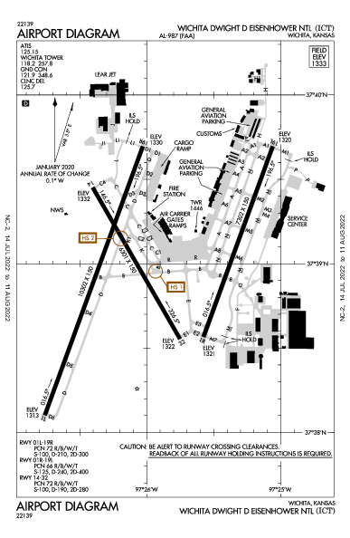 Wichita Dwight D Eisenhower National Airport (Wichita, KS): KICT Airport Diagram