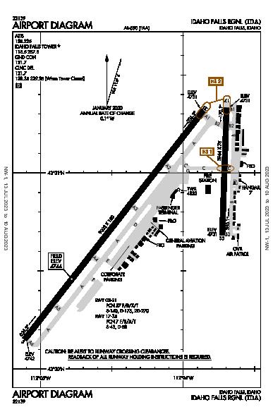 Idaho Falls Rgnl Airport (Idaho Falls, ID): KIDA Airport Diagram