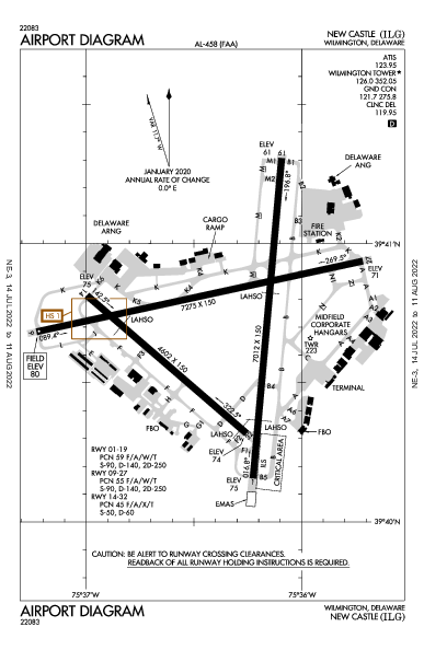 New Castle Airport (Wilmington, DE): KILG Airport Diagram