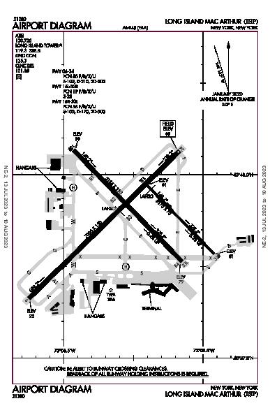Long Island Mac Arthur Airport (New York, NY): KISP Airport Diagram