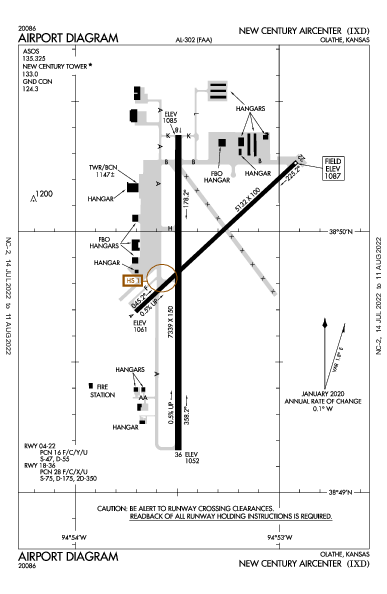 New Century Aircenter Airport (Olathe, KS): KIXD Airport Diagram