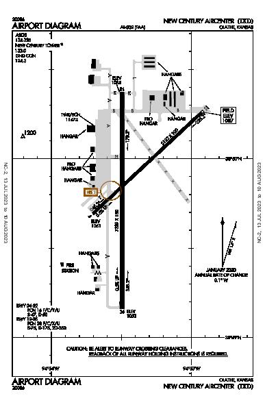 New Century Aircenter Airport (Olathe, KS): KIXD Airport Diagram