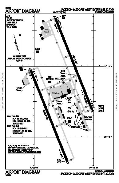 Jackson-Medgar Wiley Evers Intl Airport (Jackson, MS): KJAN Airport Diagram