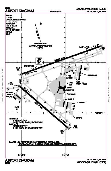 杰克逊维尔国际机场 Airport (Jacksonville, FL): KJAX Airport Diagram