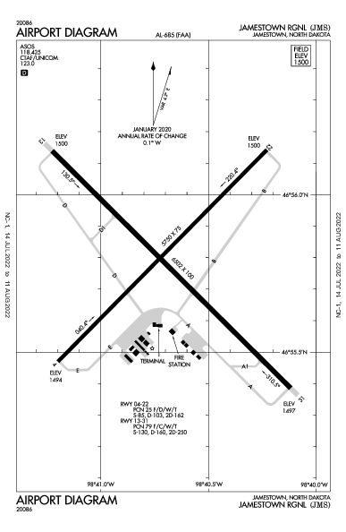 Jamestown Rgnl Airport (Jamestown, ND): KJMS Airport Diagram