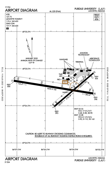 Purdue University Airport (라피엣, 인디애나 주): KLAF Airport Diagram