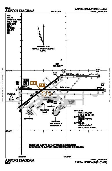Capital Region Intl Airport (Lansing, MI): KLAN Airport Diagram
