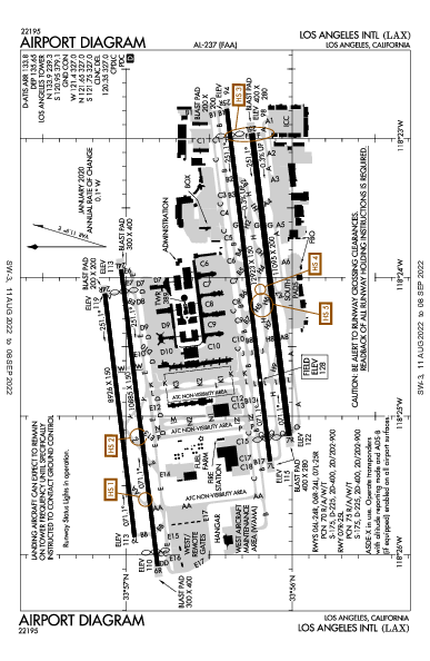 로스앤젤레스 국제공항 Airport (Los Angeles, CA): KLAX Airport Diagram