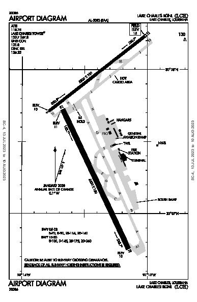 Lake Charles Rgnl Airport (Lake Charles, LA): KLCH Airport Diagram