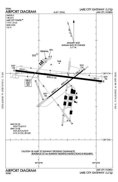 Lake City Gateway Airport (Lake City, FL): KLCQ Airport Diagram
