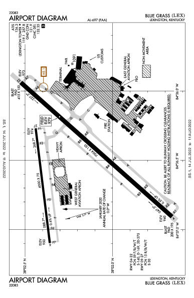 Blue Grass Airport (Lexington, KY): KLEX Airport Diagram