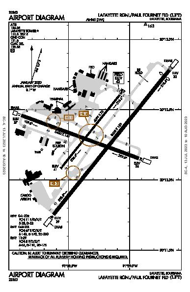 Lafayette Rgnl/Paul Fournet Fld Airport (Lafayette, LA): KLFT Airport Diagram
