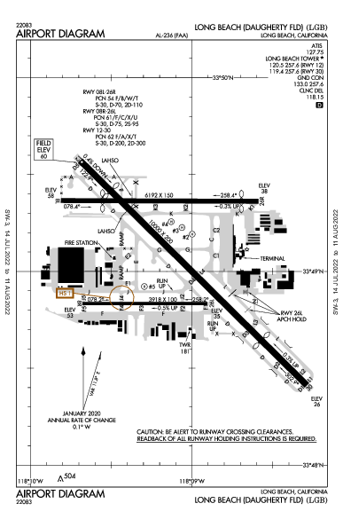 Daugherty Field Airport (Лонг-Бич, Калифорния): KLGB Airport Diagram