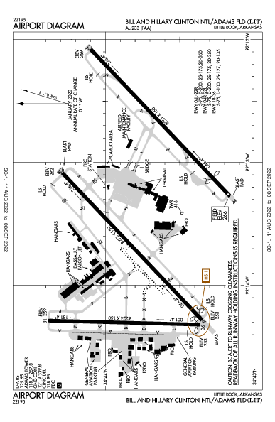 Adams Field Airport (Little Rock, AR): KLIT Airport Diagram