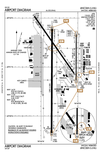 Lincoln Airport (لينكون، نبراسكا): KLNK Airport Diagram
