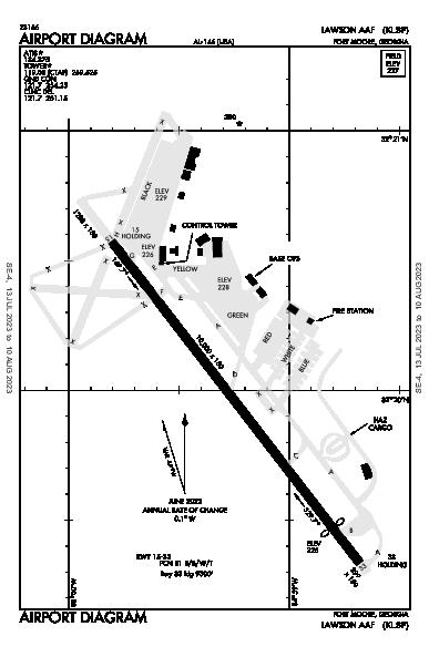 Lawson Aaf (Fort Benning) Airport (Fort Benning(Columbus), GA): KLSF Airport Diagram
