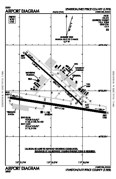 Lewiston-Nez Perce County Airport (Lewiston, ID): KLWS Airport Diagram