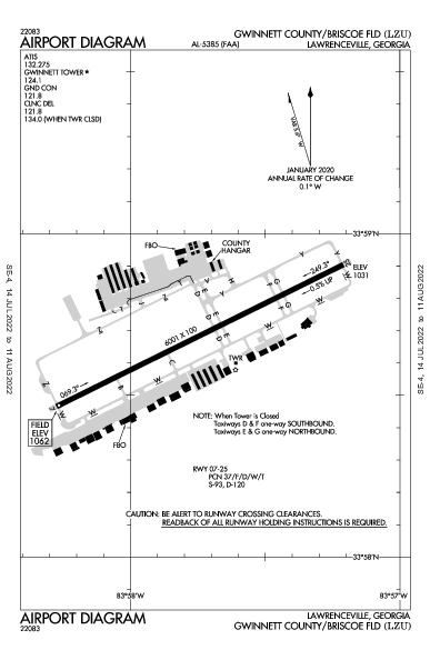 Gwinnett County Airport (Lawrenceville, GA): KLZU Airport Diagram