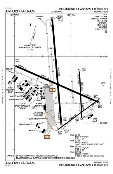 Midland Intl Air and Space Port Airport (Midland, TX): KMAF Airport Diagram