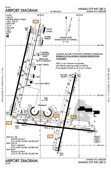 Kansas City Intl Airport (كانزاس سيتي، ميزوري): KMCI Airport Diagram