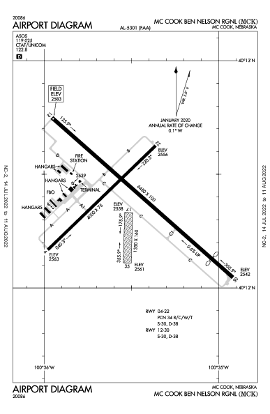 Mc Cook Ben Nelson Rgnl Airport (Mc Cook, NE): KMCK Airport Diagram