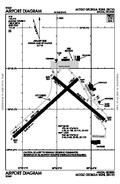 Middle Georgia Rgnl Airport (Macon, GA): KMCN Airport Diagram
