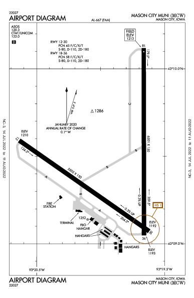 Mason City Muni Airport (Mason City, IA): KMCW Airport Diagram