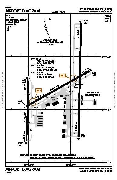 Southern Illinois Airport (Carbondale/Murphysboro, IL): KMDH Airport Diagram