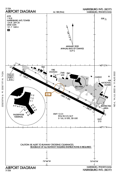 Harrisburg Intl Airport (Harrisburg, PA): KMDT Airport Diagram