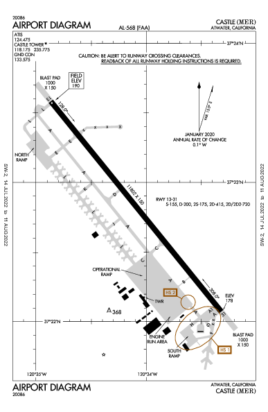 Castle Airport (Atwater, CA): KMER Airport Diagram
