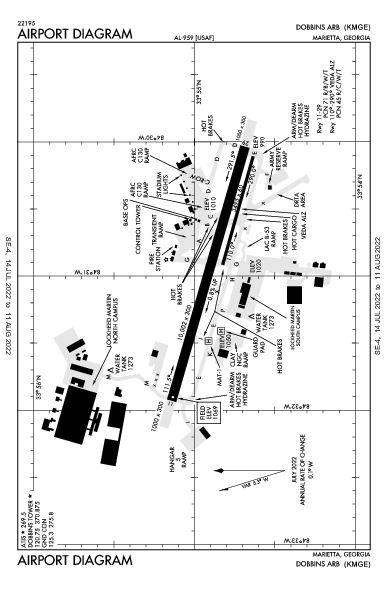 Dobbins Air Airport (マリエッタ, ジョージア州): KMGE Airport Diagram