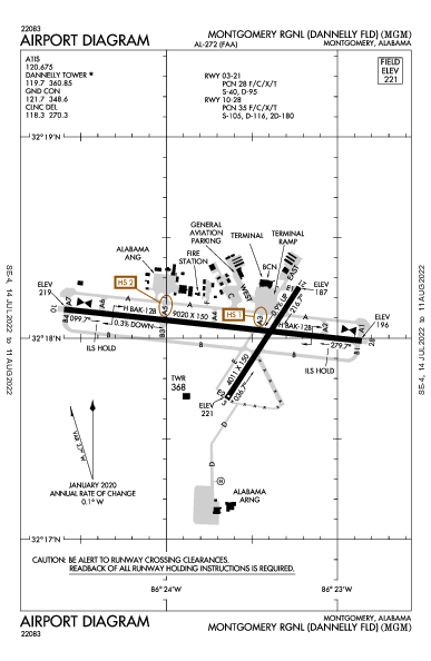 Montgomery Rgnl  Airport (مونتغومري، ألاباما): KMGM Airport Diagram