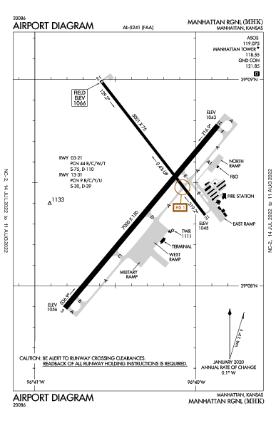 Manhattan Rgnl Airport (Manhattan, KS): KMHK Airport Diagram