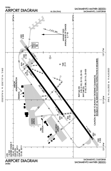 Sacramento Mather Airport (ساكرامنتو، كاليفورنيا): KMHR Airport Diagram