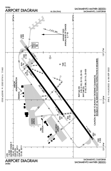 Sacramento Mather Airport (サクラメント, カリフォルニア州): KMHR Airport Diagram