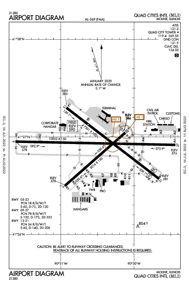 Quad City Intl Airport (Moline, IL): KMLI Airport Diagram