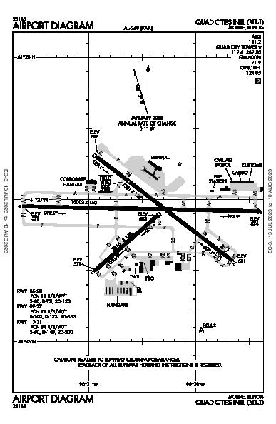 Quad City Intl Airport (Moline, IL): KMLI Airport Diagram