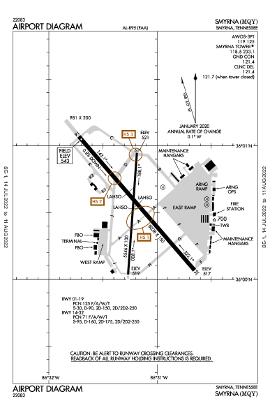 Smyrna Airport (Smyrna, TN): KMQY Airport Diagram