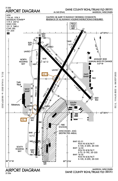 Dane Co Rgnl Airport (Madison, WI): KMSN Airport Diagram