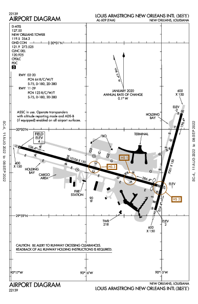 New Orleans Intl Airport (نيو أورلينز، لويزيانا): KMSY Airport Diagram