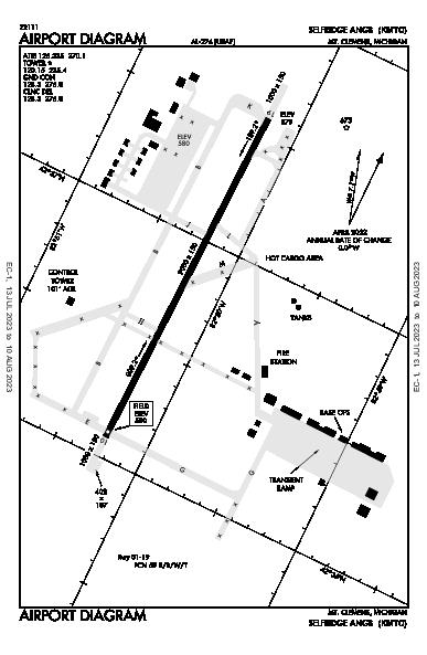 Selfridge Angb Airport (Mount Clemens, MI): KMTC Airport Diagram