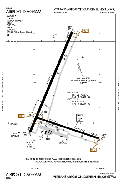 Williamson County Rgnl Airport (Marion, IL): KMWA Airport Diagram