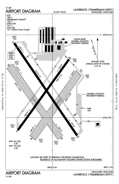 Lawrence J Timmerman Airport (Milwaukee, WI): KMWC Airport Diagram