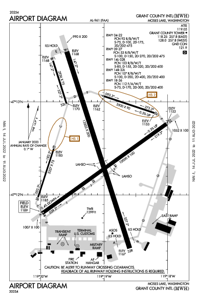 Grant Co Intl Airport (Moses Lake, WA): KMWH Airport Diagram