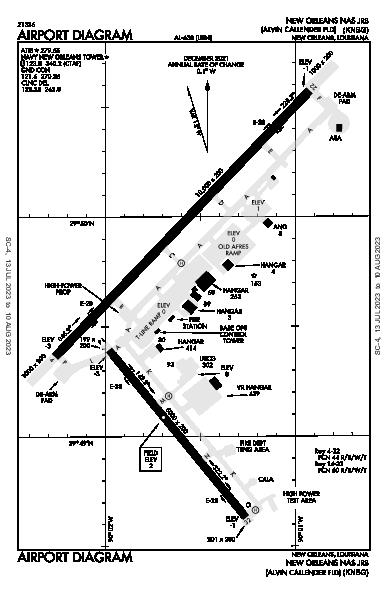 Alvin Callender Fld Airport (New Orleans, LA): KNBG Airport Diagram
