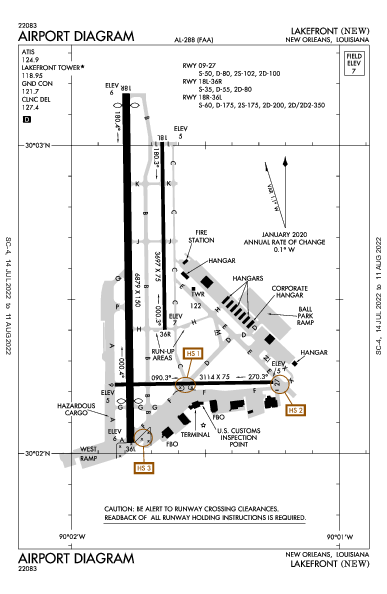 Lakefront Airport (New Orleans, LA): KNEW Airport Diagram
